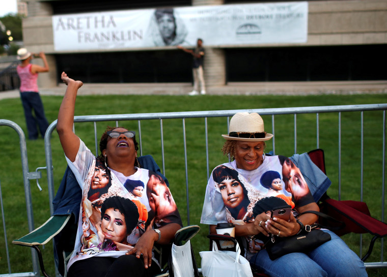 Image: Fans wait in line outside the Charles H. Wright Museum of African American History