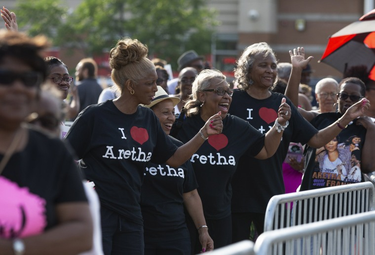 Image: Fans gather outside the Charles H. Wright Museum of African American History