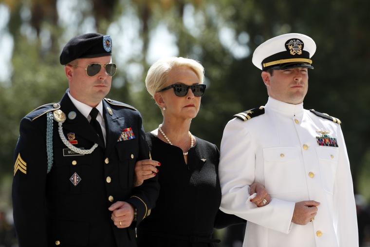 Image: Cindy McCain arrives for a memorial service for Sen. John McCain