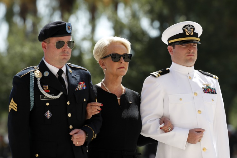 Image: Cindy McCain arrives for a memorial service for Sen. John McCain