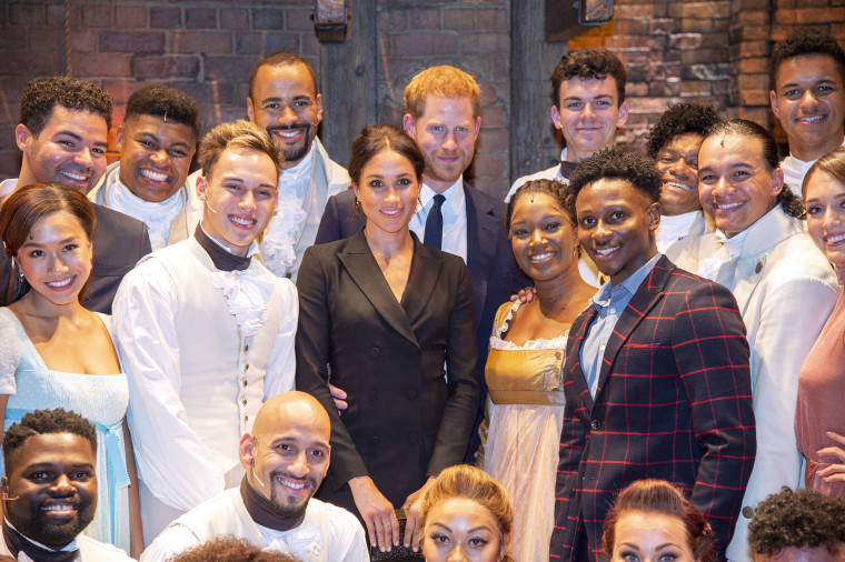 "Image: Prince Harry and Meghan Markle meet the cast and crew of ""Hamilton"" in London"