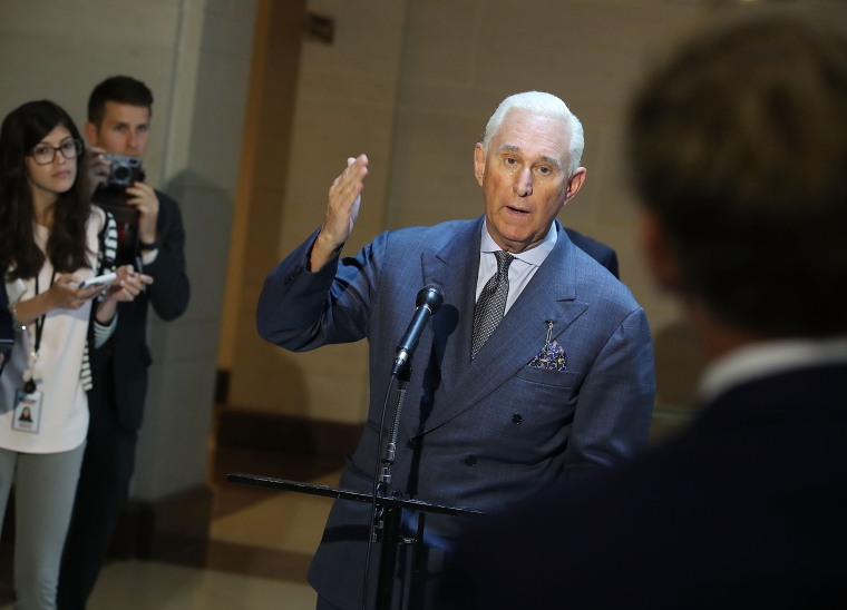 Image: Roger Stone speaks to the media in Washington