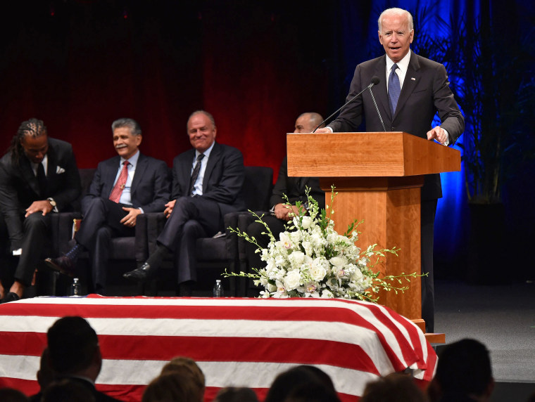 Image: Former U.S. vice president Joe Biden speaks during the memorial service for the late U.S. Senator John McCain