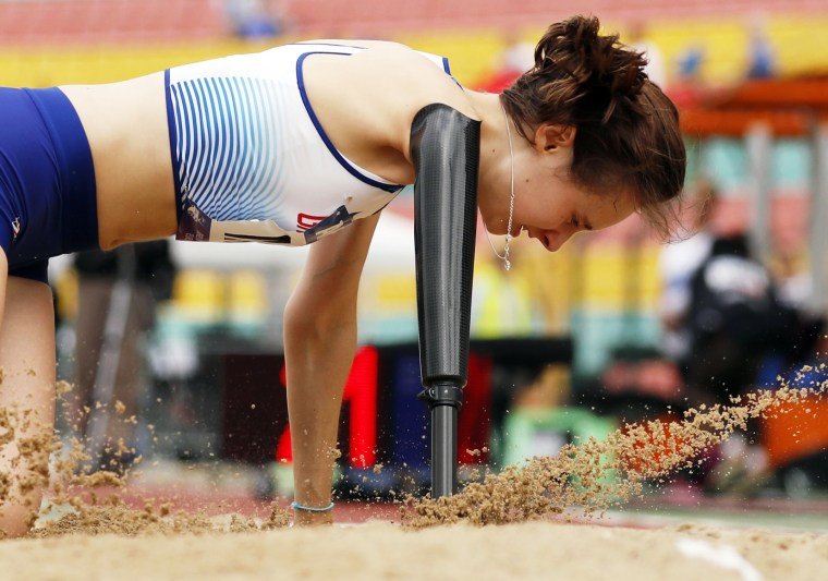 Image: Great Britain's Polly Maton competes in the women's long jump T47 final