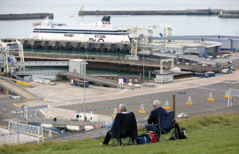 Image: The busy ferry port can be watched from Dover's white cliffs