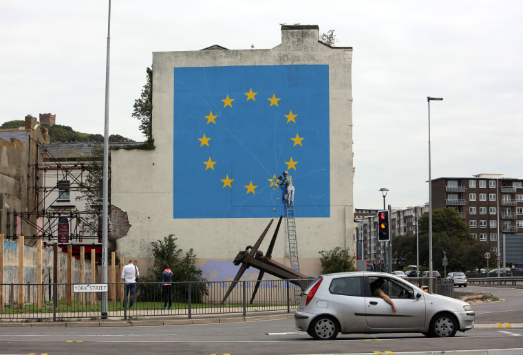 Image: A Brexit-related mural by graffiti artist Banksy in Dover