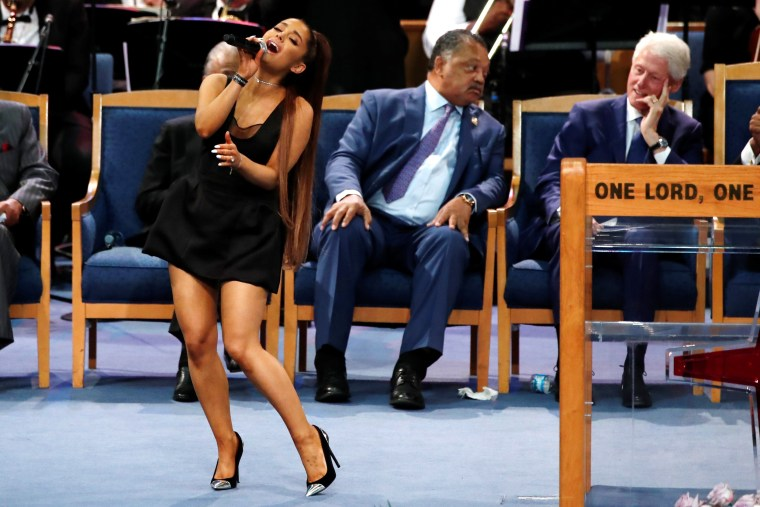Image: Singer Ariana Grande performs at the funeral service for the late singer Aretha Franklin at the Greater Grace Temple in Detroit