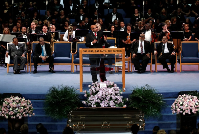 Image: Rev. Jasper Williams Jr. delivers a eulogy for Aretha Franklin at the funeral service for the late singer at the Greater Grace Temple in Detroit