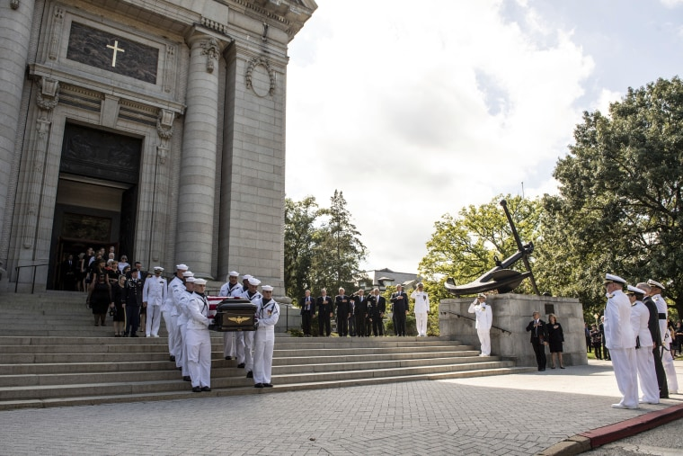 Image: Navy Body Bearers move the casket of Sen. John McCain, R-Ariz., to a horse-drawn caisson after his funeral service