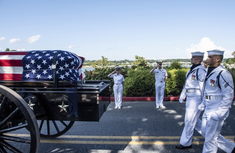 Image: Midshipmen salute the casket of Sen. John McCain, R-Ariz.