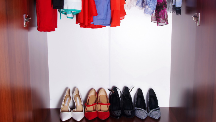 Closet with shoes and clothes