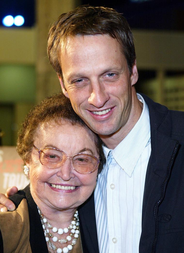 Skateboarder Tony Hawk and mother Nancy Hawk
