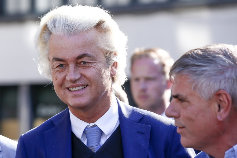 Image: Dutch right-wing populist Geert Wilders in Antwerp