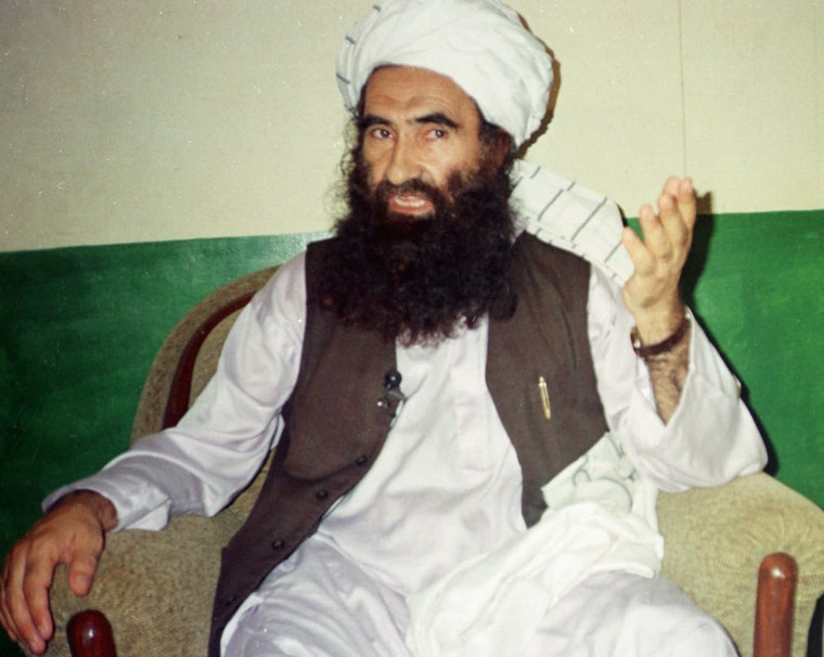 Image: Jalaluddin Haqqani, then Taliban Army Supreme Commander, speaks during an interview in Miram Shah, Pakistan