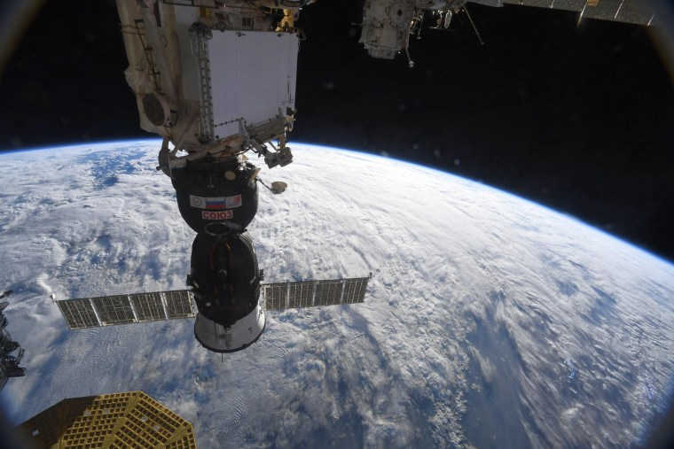 "A Soyuz spacecraft docked at the International Space Station. ""Yesterday showed again how valuable our emergency training is,"" tweeted astronaut Alexander Gerst on Aug. 30."