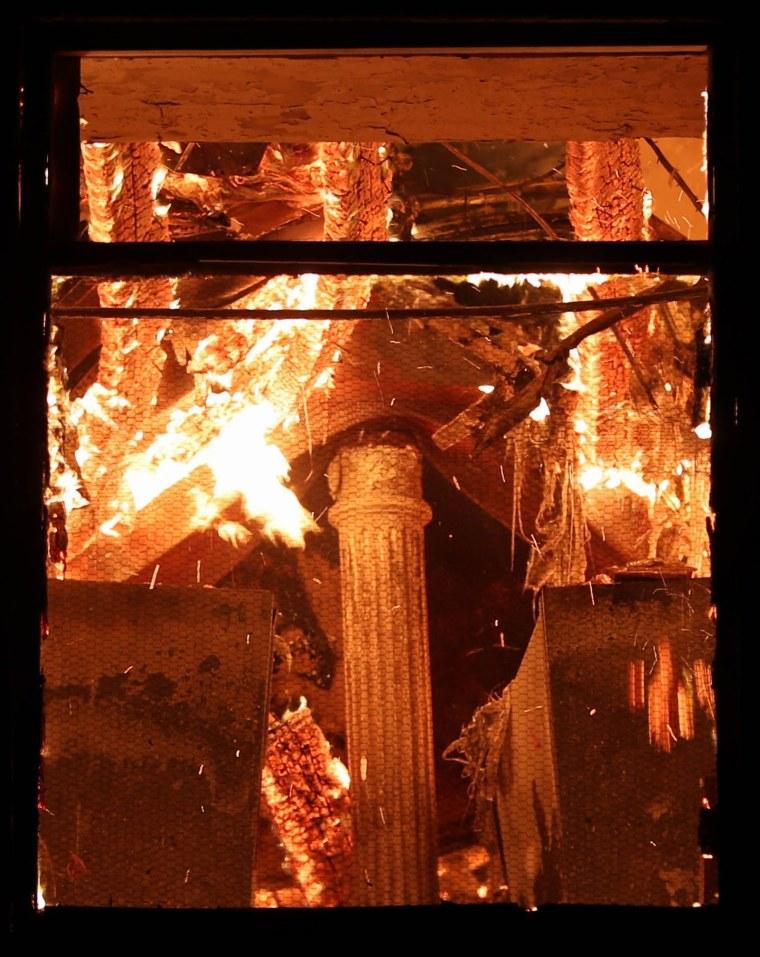 Image: A fire burns inside Brazil's National Museum of Rio de Janeiro