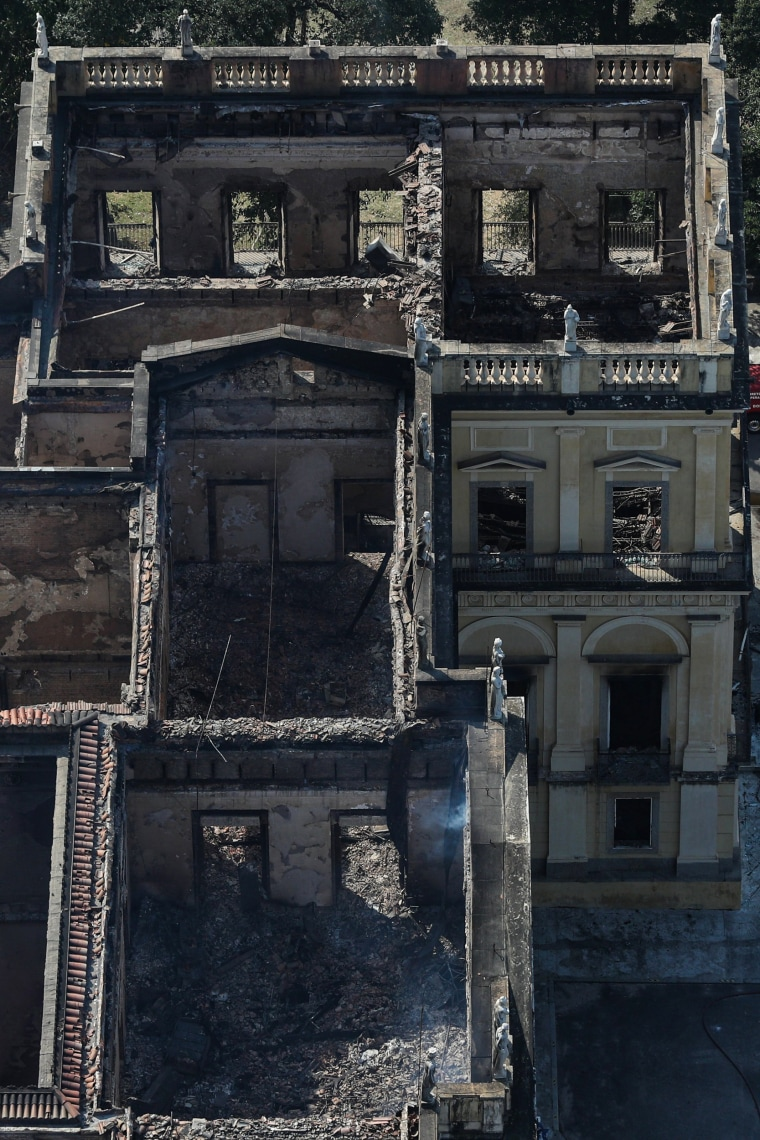 Image: Aerial view of the damage to the National Museum of Brazil after a devastating fire