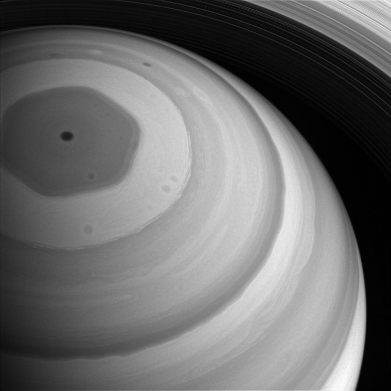 Greyscale Cassini views of Saturn's famous hexagon.