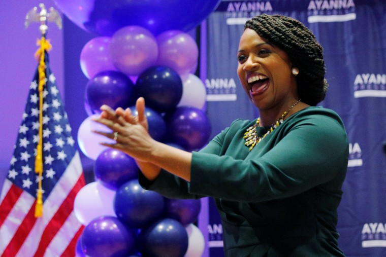 Image: Democratic candidate for U.S. House of Representatives Ayanna Pressley takes the stage after winning the Democratic primary in Boston