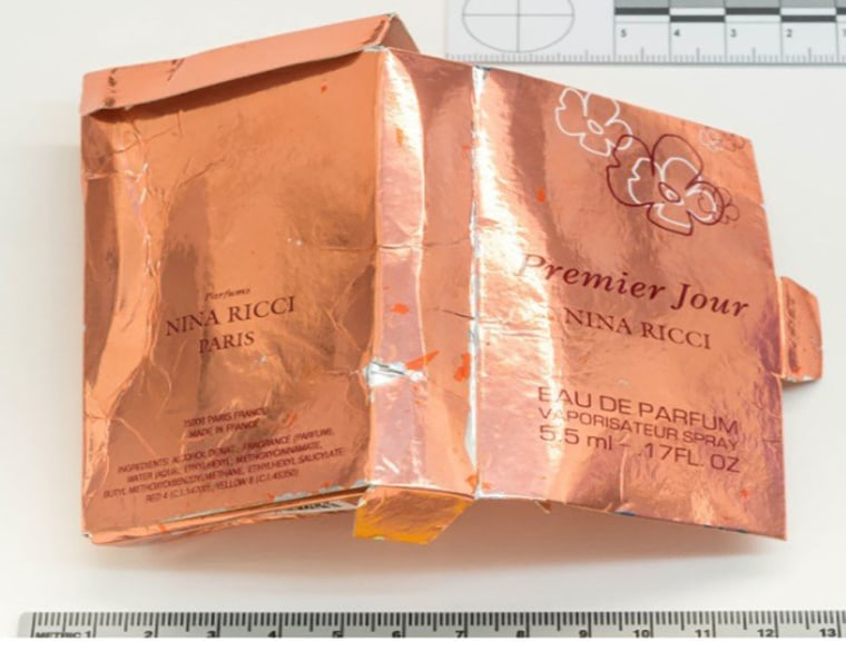 Image: The counterfeit perfume box that British police say Novichok was transported in