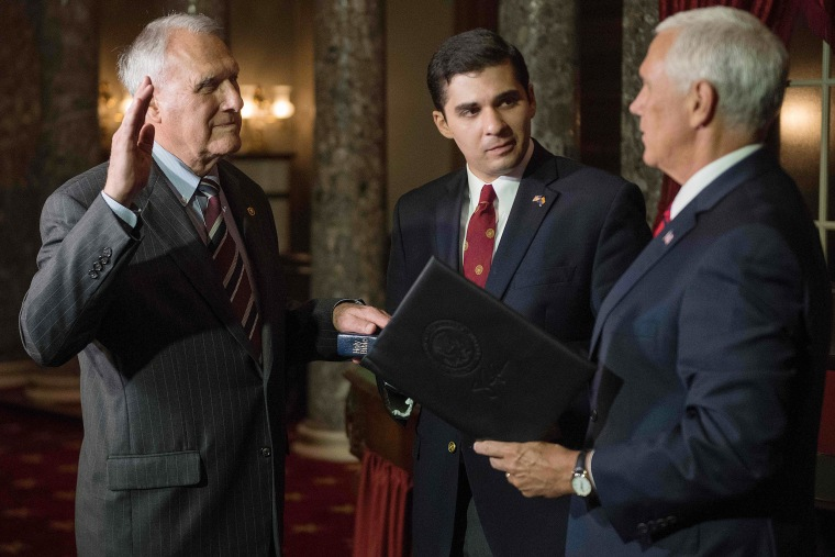 Image: Vice President Mike Pence ceremonially swears in U.S. Senator Jon Kyl, R-AZ