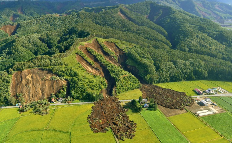 Image: The quake triggered a landslide in Atsuma, Japan