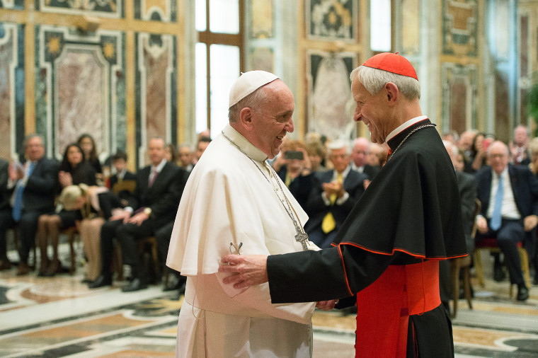 Imaeg: Pope Francis, left, talks with Papal Foundation Chairman Cardinal Donald Wuerl, Archbishop of Washington, D.C.
