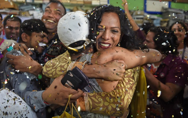 Supporters of the LGBT community celebrate in Mumbai, India