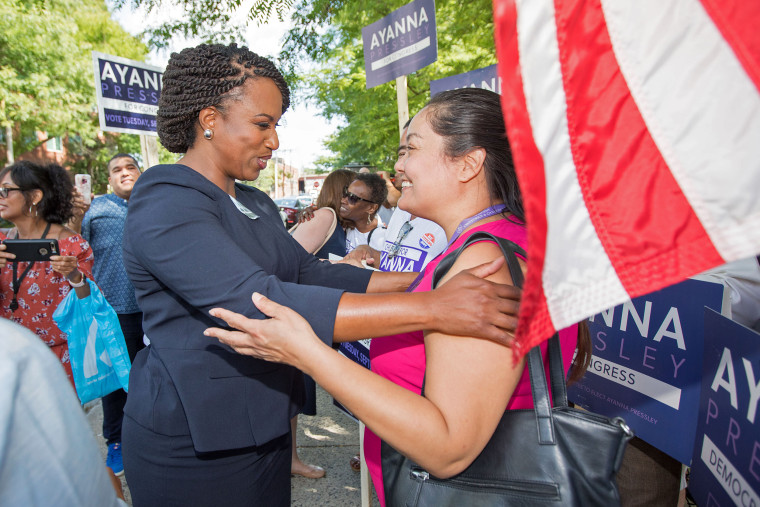 Image: Boston City Councilwomen And House Democratic Candidate Ayanna Pressley Campaigns On Primary Day