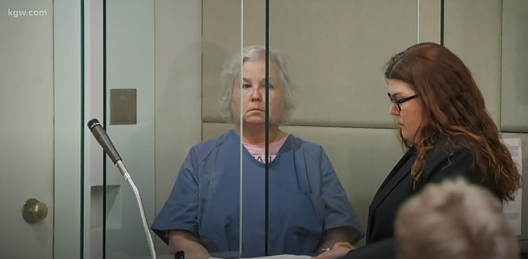 Nancy Crampton-Brophy appears in court on Sept. 6 for her arraignment in Portland, Oregon.