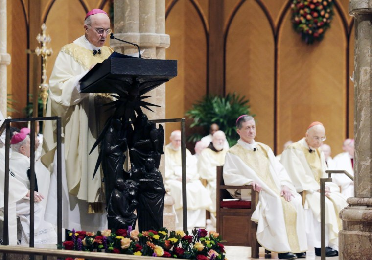 Archbishop Carlo Maria Vigano reads the Apostolic Mandate during the Installation Mass of Archbishop Blase Cupich at Holy Name Cathedral, in Chicago