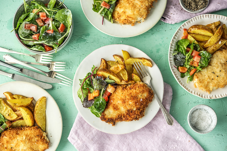 Chicken Milanese with Crispy Potatoes