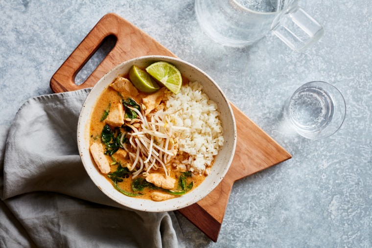 Peanut Chicken Curry over Sticky Rice