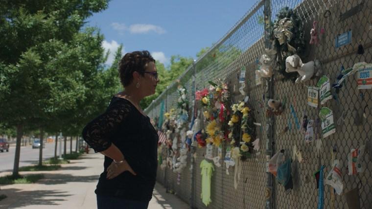 Oklahoma City bombing survivor Amy Downs at memorial