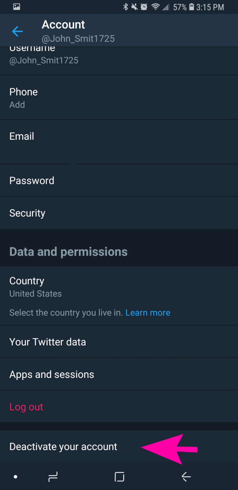 how to delete twitter on android