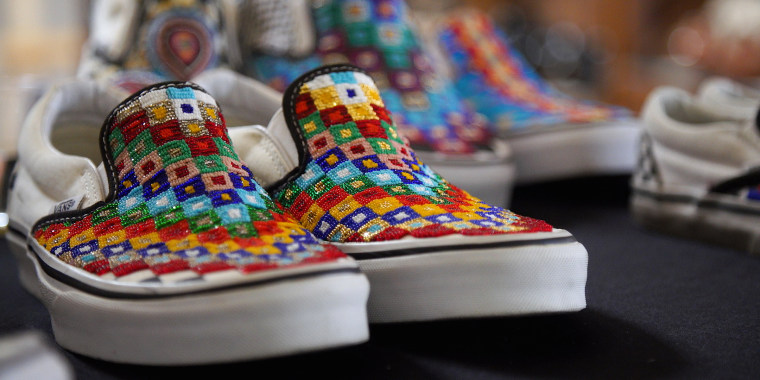 Charlene Holy Bear's beaded Vans