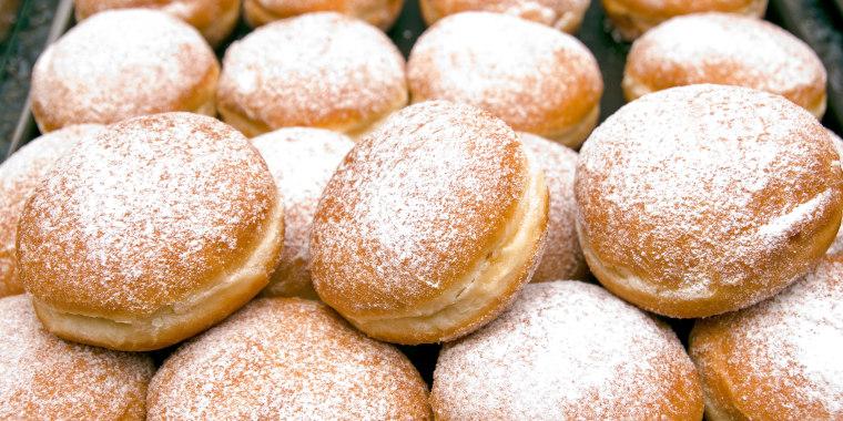 Stack of fresh Berliner jelly doughnuts