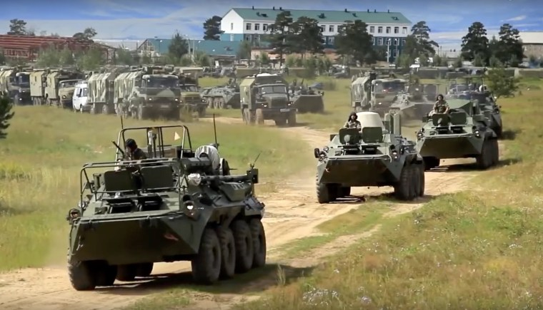 Image: Russian armored personnel carriers take part inthe military exercises in the Chita region of Eastern Siberia during the Vostok 2018 exercises