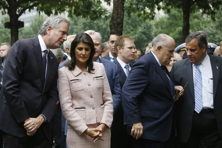 Image: Image: Bill de Blasio, Nikki Haley,  Rudy Giuliani and Chris Christie attend a ceremony marking the 17th anniversary of the terrorist attacks on the United States