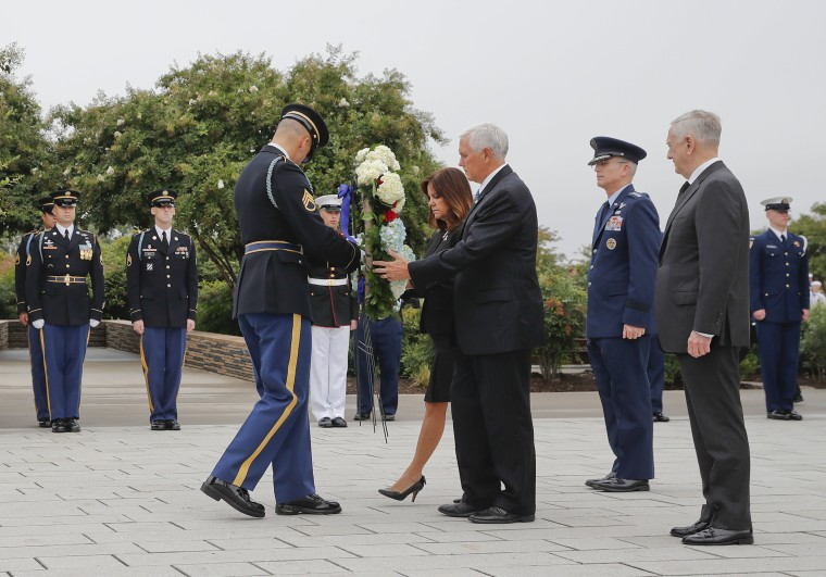 Image: Vice President Mike Pence and Karen Pence attend a wreath laying ceremony at the Pentagon