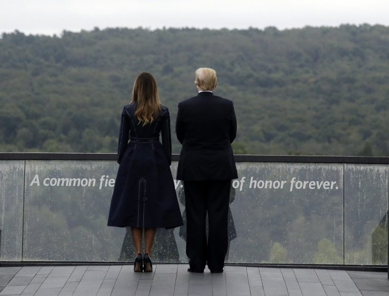 Image: President Donald Trump and first lady Melania Trump, stand along the September 11th in Shanksville