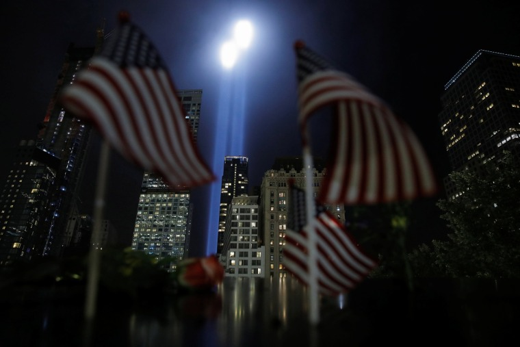 Image: The Tribute in Light installation is illuminated over lower Manhattan as seen from The National September 11 Memorial & Museum marking the 17th anniversary of the 9/11 attacks in New York