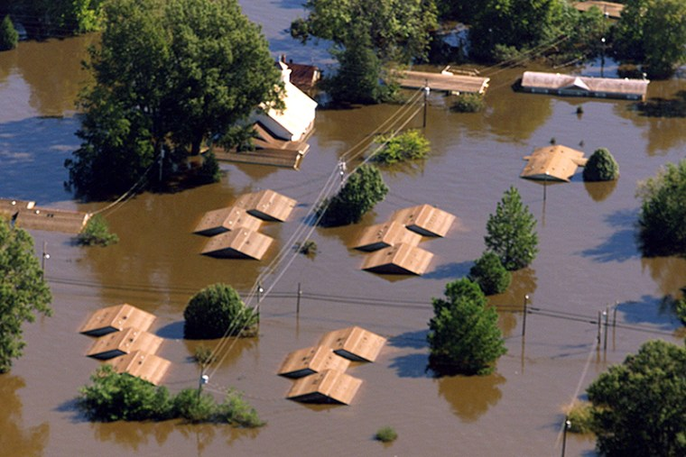 Homes are partially submerged near Tarboro, North Carolina, on Sept. 23, 1999, after the passage of Hurricane Floyd.