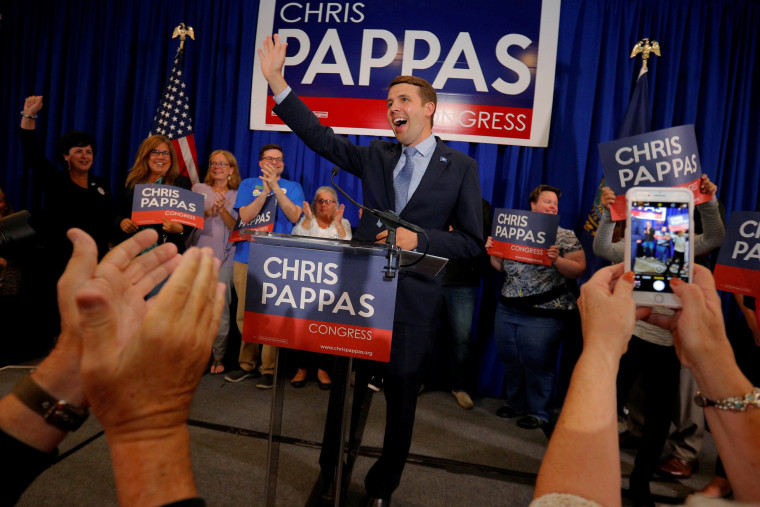 Image: Democratic candidate for the U.S. House of Representatives Pappas takes the stage at his primary election rally in Manchester