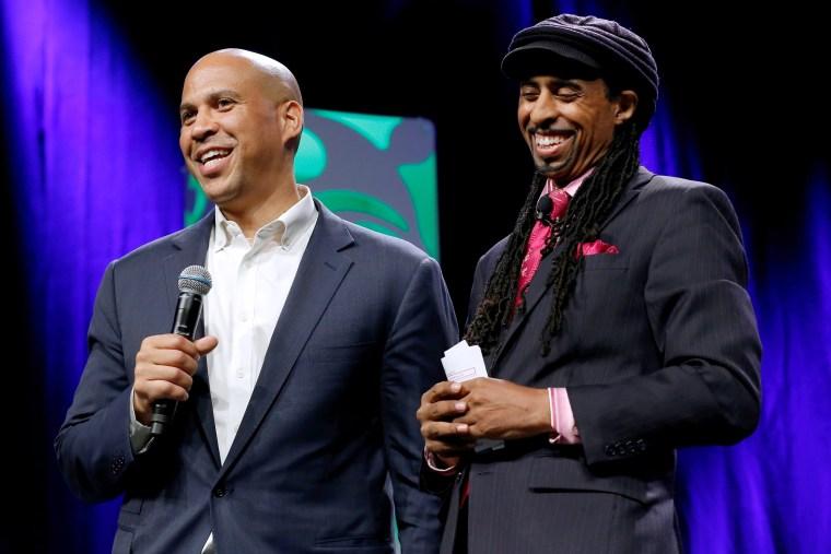 U.S. Senator Booker and Mustafa Santiago Ali speak at the Netroots Nation annual conference for political progressives in New Orleans