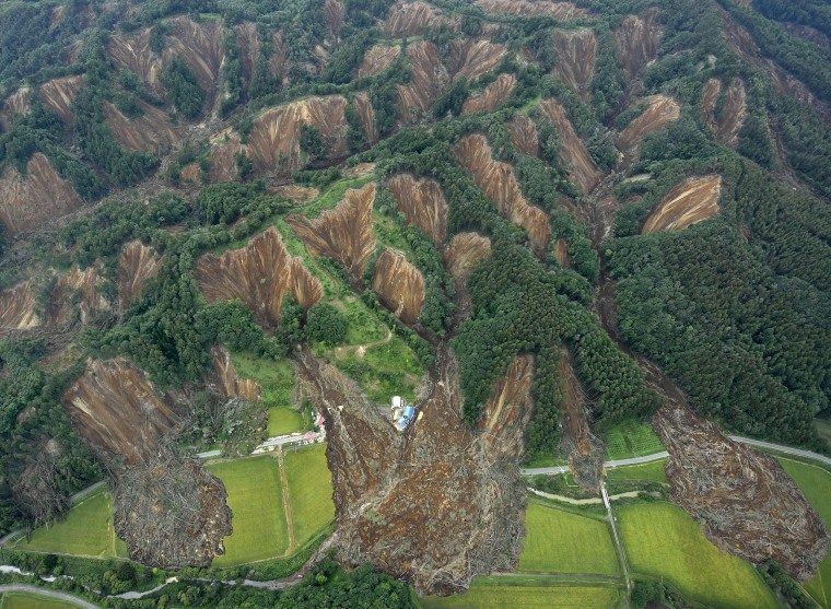 Image: Landslides caused by an earthquake are seen in Atsuma town