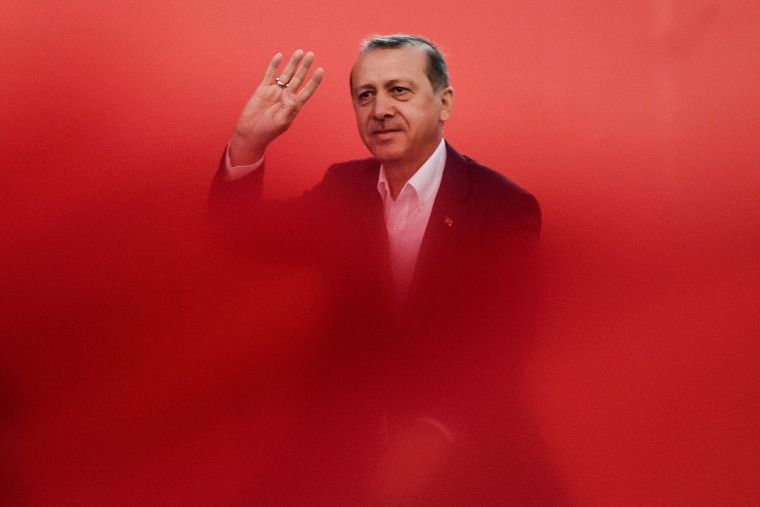 Image: Turkish President Recep Tayyip Erdogan greets supporters on Aug. 7, 2016 in Istanbul