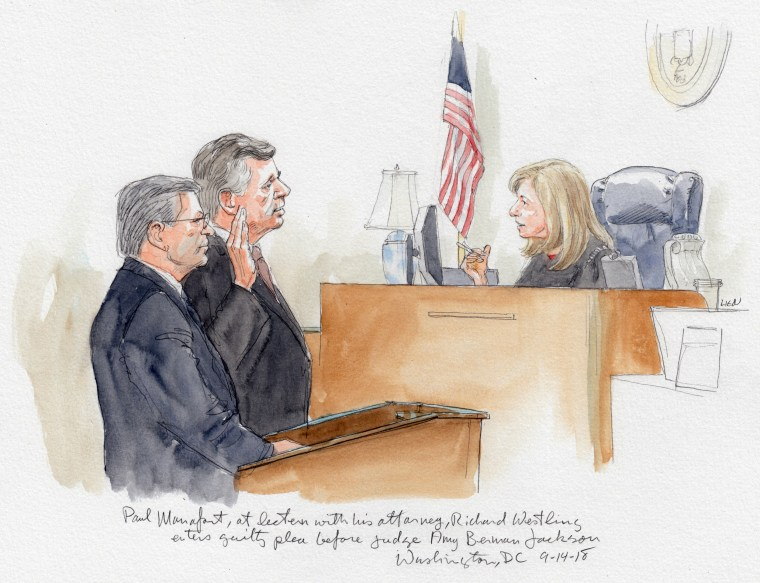 Paul Manafort, with his lawyer Richard Westling, pleads guilty before judge Amy Berman Jackson.
