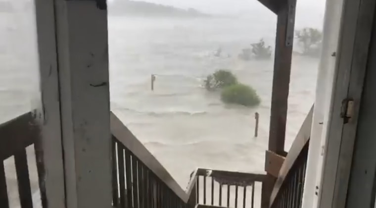 Jeanette Rivera captured this view of waters rising outside her house in Sneads Ferry, North Carolina.
