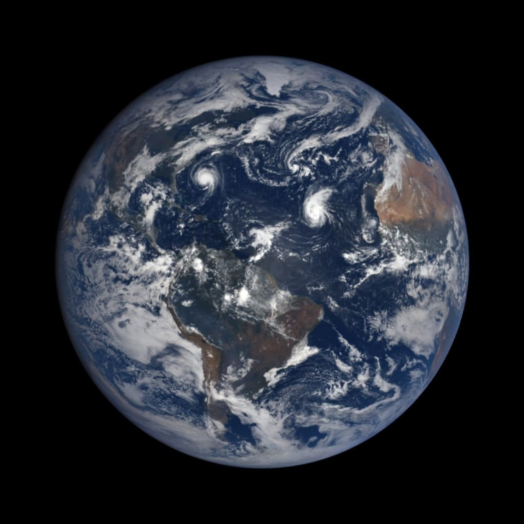 NOAA's DSCOVR satellite captured this view of Hurricane Florence, Hurricane Helene, Tropical Storm Isaac and Subtropical Storm Joyce